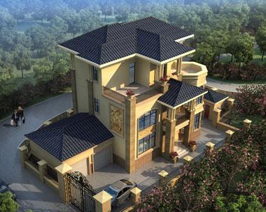 图纸设计超市at1669三层双车库豪华欧式别墅建筑设计图纸