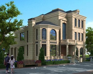 定制设计at1772法式风格三层豪华大气复式楼别墅施工图纸12.4mx15.5m