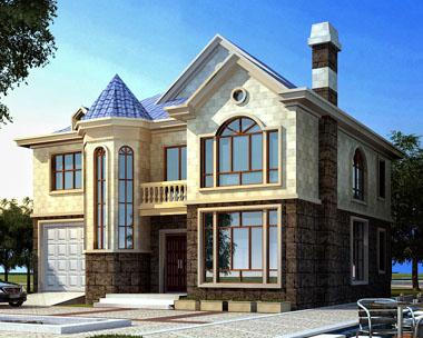 图纸超市at215新农村二层欧式豪华别墅建筑设计图纸~12.5mx12m