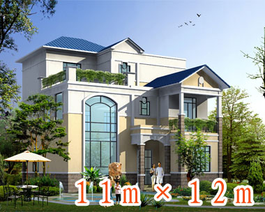 016号三层简欧式别墅设计图纸11m×12m