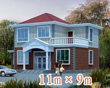 487号新农村二层小别墅设计图纸11m×9m
