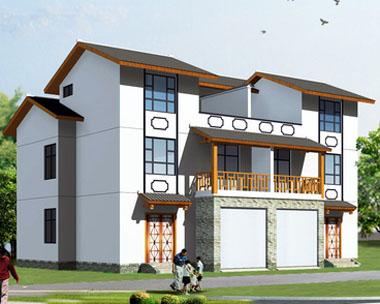 558新农村三层双拼别墅设计方案图纸~8m*11m