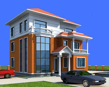 892高端大气三层坡屋顶带露台效果图建筑设计图纸12m