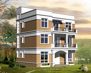950现代风格三层半平顶别墅设计图纸12m×11m图片
